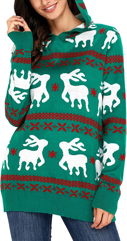 HOTAPEI Women's Ugly Christmas Reindeer Snowflakes Oversized Hooded Sweaters