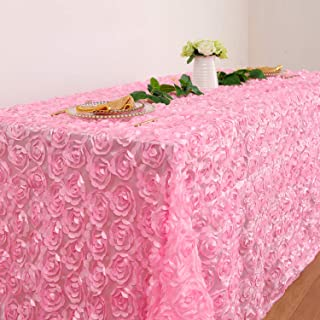 Fanqisi Wedding Tablecloth Pink Satin Rosette Tablecloths 90 x156 Inches Table Line 3D Floral Cover