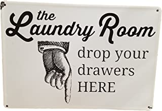 AT Vintage Enamel Laundry Room Drop Your Drawers Here Metal Wall Sign