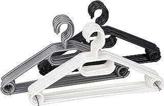WENKO Cintres Easy noir, gris, blanc - set de 10, cintres, barre pour pantalons, encoches jupes, porte-écharpe et cravate,...
