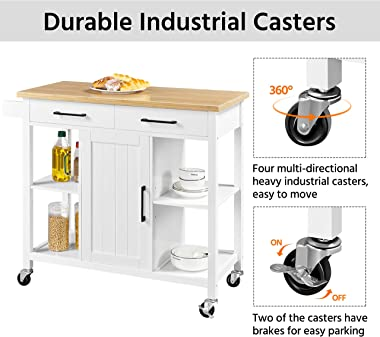 YAHEETECH Kitchen Cart On Wheels with 2 Drawers and Storage Cabinet, Utility Kitchen Island with Bamboo Wood Top and Towel Ba