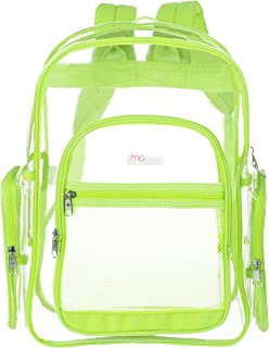 MGgear 17-Inch Clear Security Backpack with Yellow Trim, Transparent PVC Book Bag