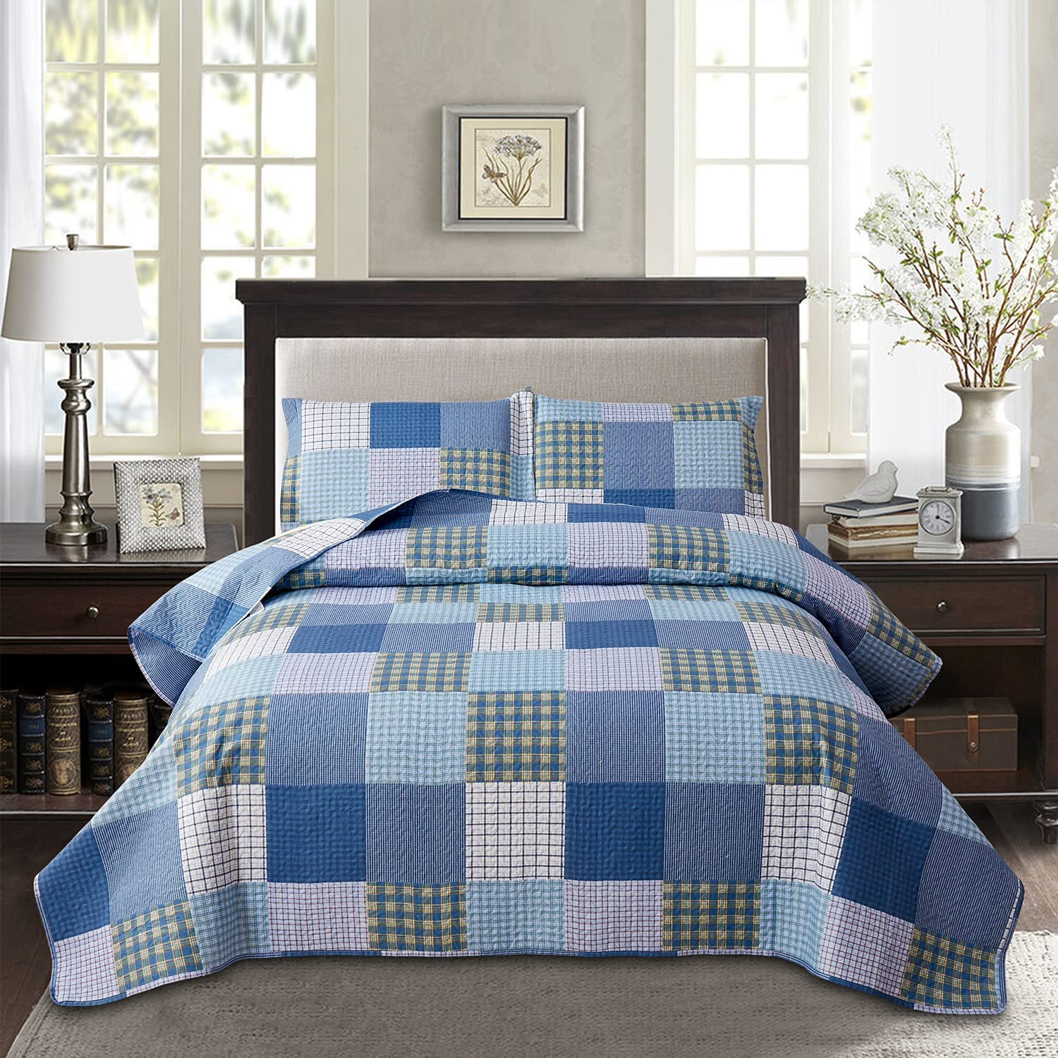 Plaid San Diego Mall Ultra Lightweight Quilt Set Blue Size High material Yello 68