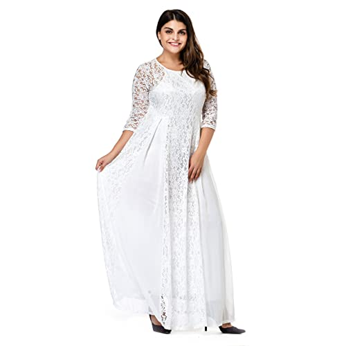 ESPRLIA Women s Plus Size Floral Lace 3 4 Sleeve Wedding Maxi Dress White 0f9886e89
