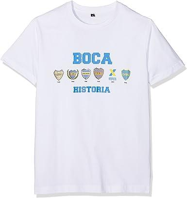 Boca Juniors Camiseta de Hombre con diseño de Logos de la Historia, pequeña