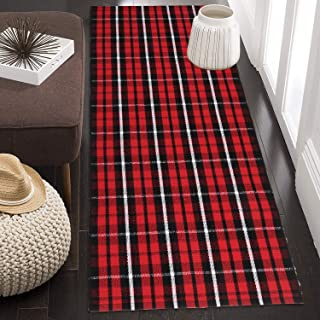 100% Cotton Buffalo Plaid Rug 24'' x 51'', KIMODE Black/Red Hand-Woven Checkered Welcome Door Mat, Washable Floor Rugs for Porch Kitchen Bathroom Laundry Living Room Braided Throw Mat
