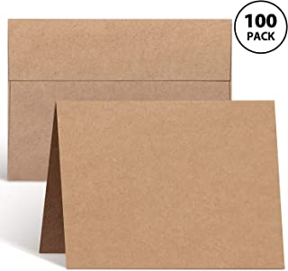 Blank Cards and Envelopes 100 Pack, Ohuhu 5 x 7 Heavyweight Kraft Paper Folded Greeting Cards And A7 Envelopes for DIY Greeting Card, Wedding, Birthday, Invitations, Thank You Cards & All Occasion