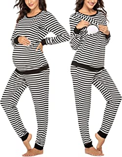 Maternity & Nursing Thermal Underwear Set Striped Knit...
