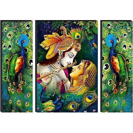 SAF Set of 3 Radha Krishna 6MM MDF self addeshive UV Coated Home Decorative Religious Gift Item 24 inch x 18 inch Painting SANFWF01, Multicolour, Standard