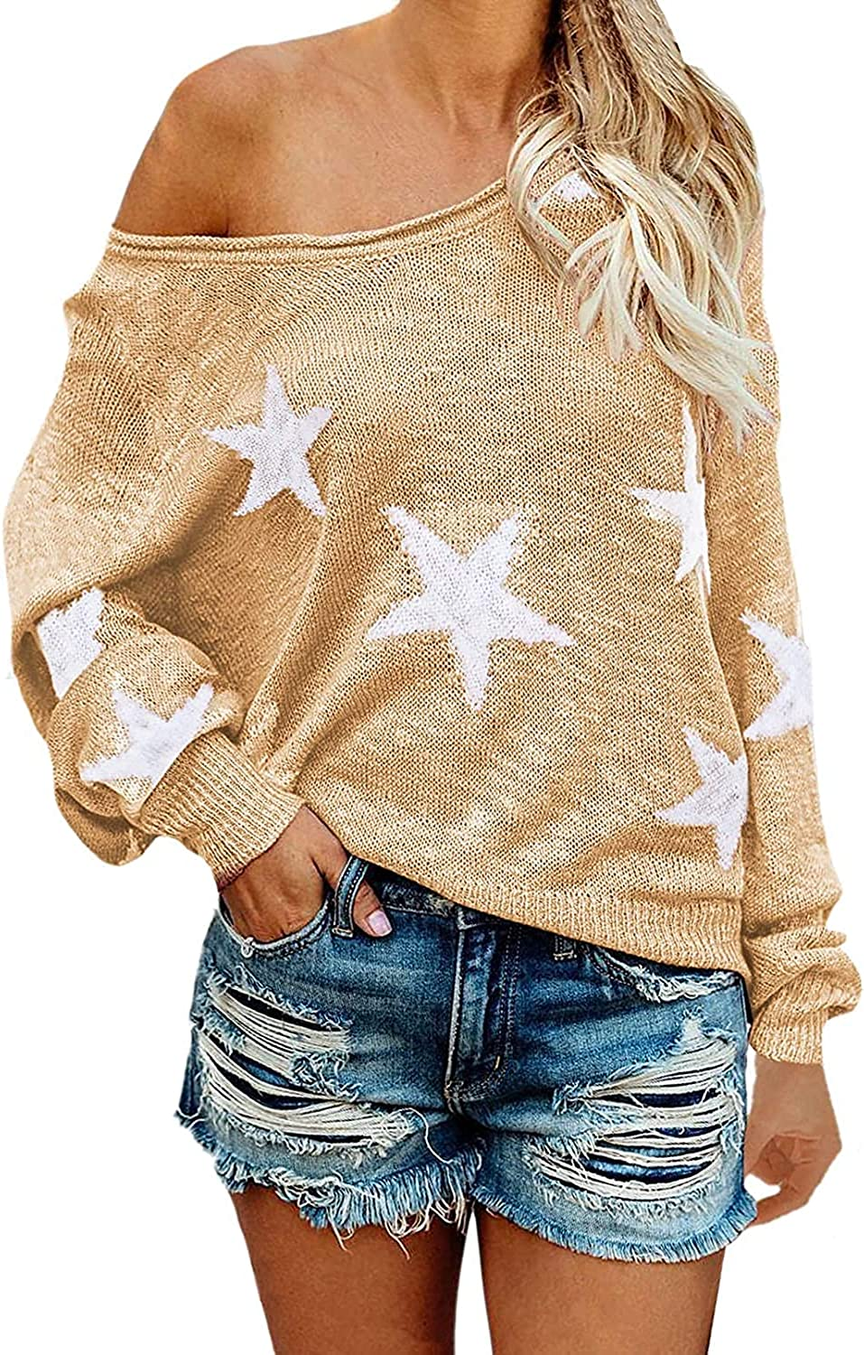 ZOCANIA Women's Scoop Neck Long Sleeve Star Pullover Sweater Tunic Tops