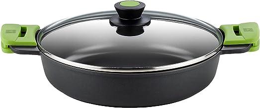 BRA PRIOR - Cacerola baja con tapa de cristal y asas de silicona, apta para todo tipo de cocinas incluida inducción y horno, 28 cm