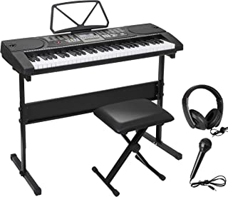 $82 » ZENY 61 Key Portable Electronic Keyboard Piano with Built in Speakers, Headphones, Microphone, Piano Stand and Stool