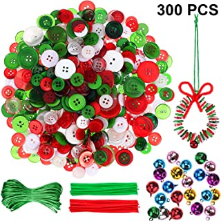 WILLBOND Christmas Ornament Craft Kit - About 400 Pieces Colorful Christmas Buttons Xmas Resin Buttons, 50 Pieces Christmas Jingle Bell, 50 Pieces Chenille Stems Pipe Cleaners with 65.6 ft Rope