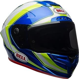 Bell Race Star Full-Face Motorcycle Helmet (Gloss White/Hi-Viz Green/Blue Sector, Large)