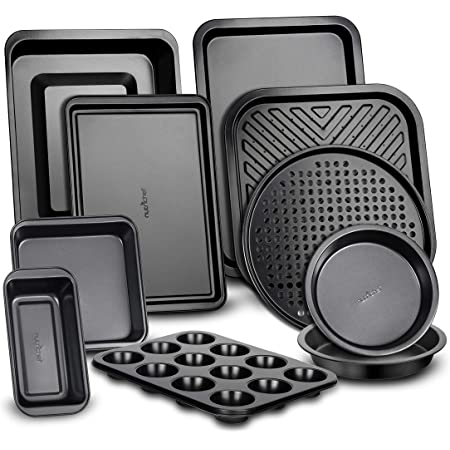 10-Piece Kitchen Oven Baking Pans - Deluxe Carbon Steel Bakeware Set with Stylish Non-stick Gray Coating Inside and Out, Dishwasher Safe & PFOA, PFOS, PTFE Free - NutriChef