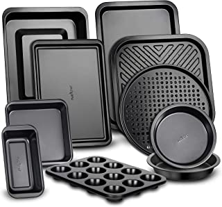 10-Piece Kitchen Oven Baking Pans - Deluxe Carbon Steel Bakeware Set with Stylish Non-stick Gray Coating Inside and Out, D...