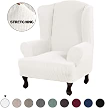 Turquoize Stretch Wing Chair Slipcover Wingback Armchair Chair Slipcovers Sofa Covers 1-Piece Spandex Fabric Wing Back Wingback Armchair Chair Slipcovers(Wing Chair, Ivory)