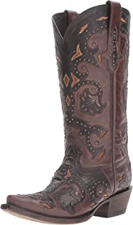 Lucchese Classics Women's Fiona-stud Scarlette Cafe Bn Calf Riding Boot, Cafe Brown, 9 B US