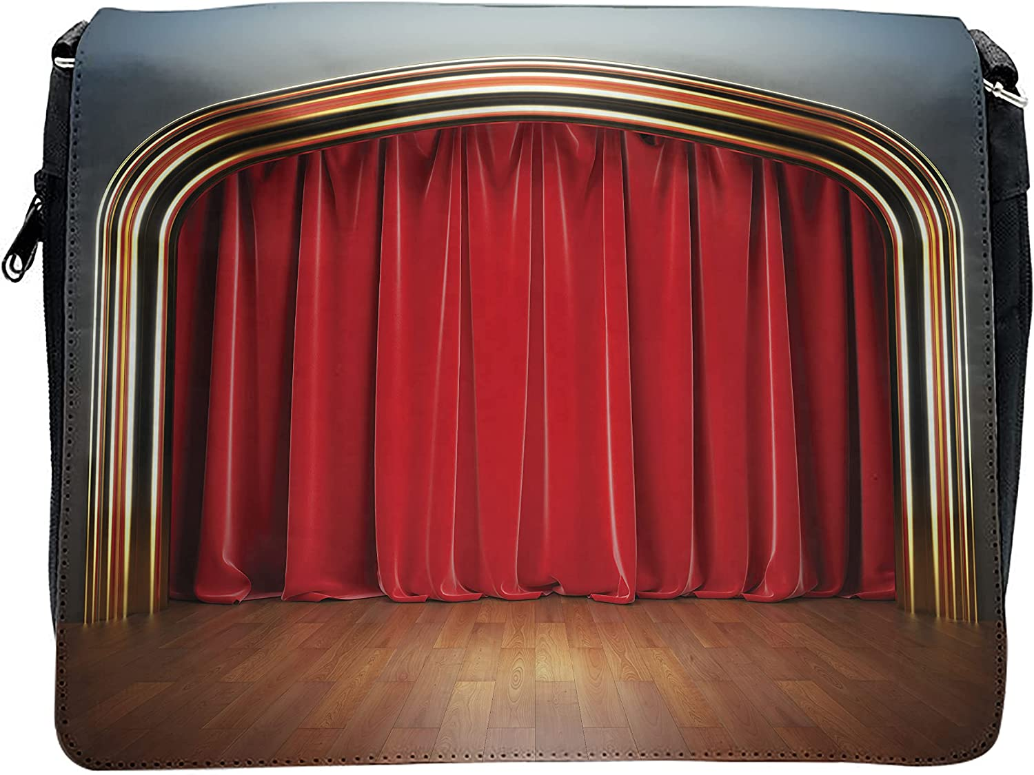 Ambesonne Theatre Cross Body Messenger Bag, Stage with Classic Curtains, Unisex