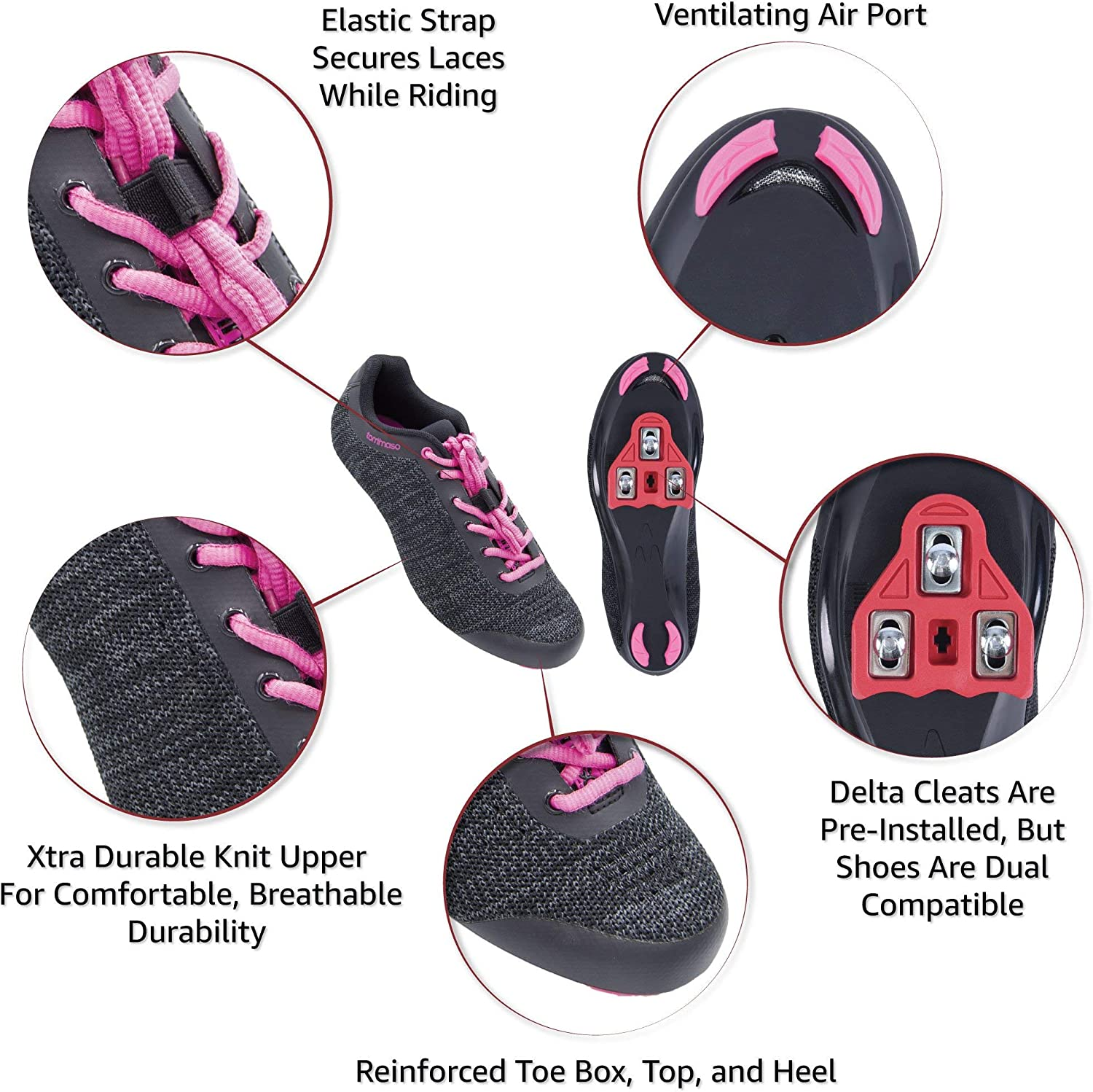Pink Blue SPD Black Tommaso Pista Aria Knit Womens Spin Class Ready Cycling Shoe and Bundle with Compatible Cleat Grey Look Delta