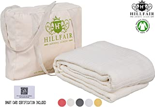 HILLFAIR 100% Certified Organic Cotton Blankets- King Size Bed Blankets- All Season Cotton Blanket- Organic Cotton Bed Blankets- Soft Cozy Multipurpose King Blankets-Natural King Size Blankets