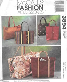 McCall's Fashion Accessories Pattern 3894 ~ Lined Tote Bags