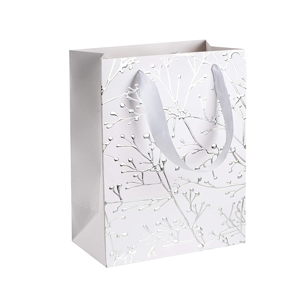 """Floral Stems Design Foil Stamped Gift Bags (12 Pack)- 9""""x 7""""x 4"""" Unique Design with Durable Ribbon Handles, Beautiful Present Bags Best for Birthday, Wedding and Party Favors (White)"""