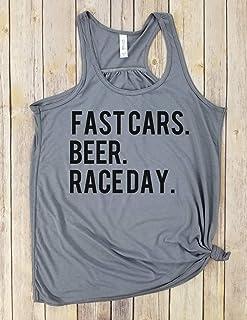 Fast Cars. Beer. Race Day Tank, race day tank, beer shirt, fast cars shirt, racing shirt