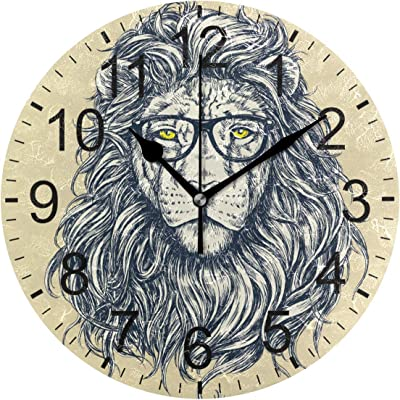 e5cc5c0011a9 ATZUCL Lion Wearing Glasses Round Wall Clock Silent Non Ticking Decorative  Clock for Room