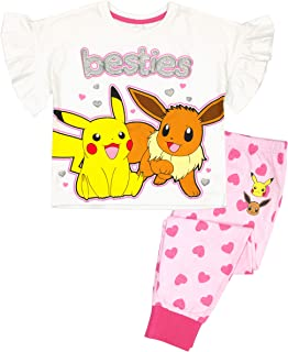 Vanilla Underground Pokemon Besties Pikachu Eevee Girl's Pink White Short Sleeve Long Leg Pyjamas