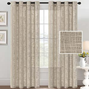 Linen Curtains Natural Linen Blended Curtains for Living Room Burlap Linen Textured Curtains Light Filtering Nickel Grommet Curtains Bedroom Curtains 2 Panel Sets Privacy Added, 52