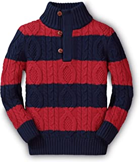 Hope & Henry Boys' Mock Neck Cable Sweater with Button Placket