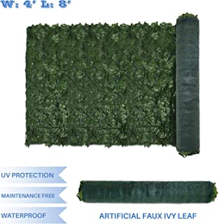 E&K Sunrise 4' x 8' Faux Ivy Privacy Fence Screen with Mesh Back-Artificial Leaf Vine Hedge Outdoor Decor-Garden Backyard Decoration Panels Fence Cover - Set of 1