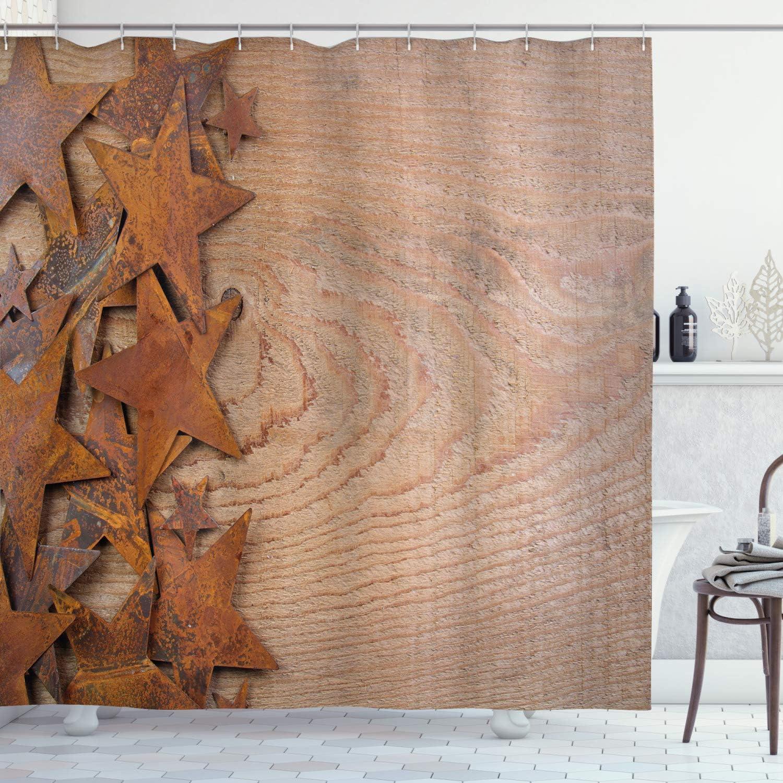 Ambesonne Western Under blast sales Shower Curtain Rusty Backgrou Outstanding Stars Wooden on