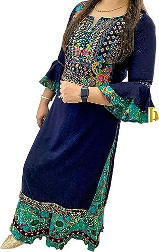 SHIRTWALAS Jaipuri Rajasthani Rayon Straight Kurti with Plazzo for Women Girls Dress