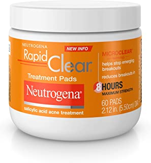 Best Neutrogena Rapid Clear Acne Face Pads with Salicylic Acid Acne Treatment Medicine to Fight Face Breakouts, Oil Free Pads with Maximum Strength Salicylic Acid Acne Medicine, 60 ct Review