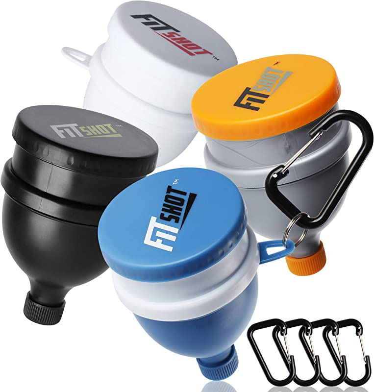 FitShot Protein Powder Funnel Fill N Go Supplement Funnel With Keychain 4pack Water Bottle Funnels BPA Free 2 In 1 Portable 120ml With Pillbox Pre Workout Protein Powder Container To Go