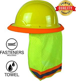 BEST EVER Pro Hard Hat Sun Shade. Premium Neck Shield with Secure-Fit Fasteners & Built In Sweat Towel. Fits Full & Standard Brim Safety Helmets. For Construction & Landscaping. Hard Hat Not Included