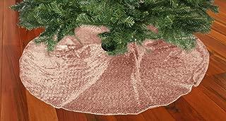TRLYC Glittery Sequin Holiday Tree Skirt, 48-Inch Blush Christmas Tree Skirt