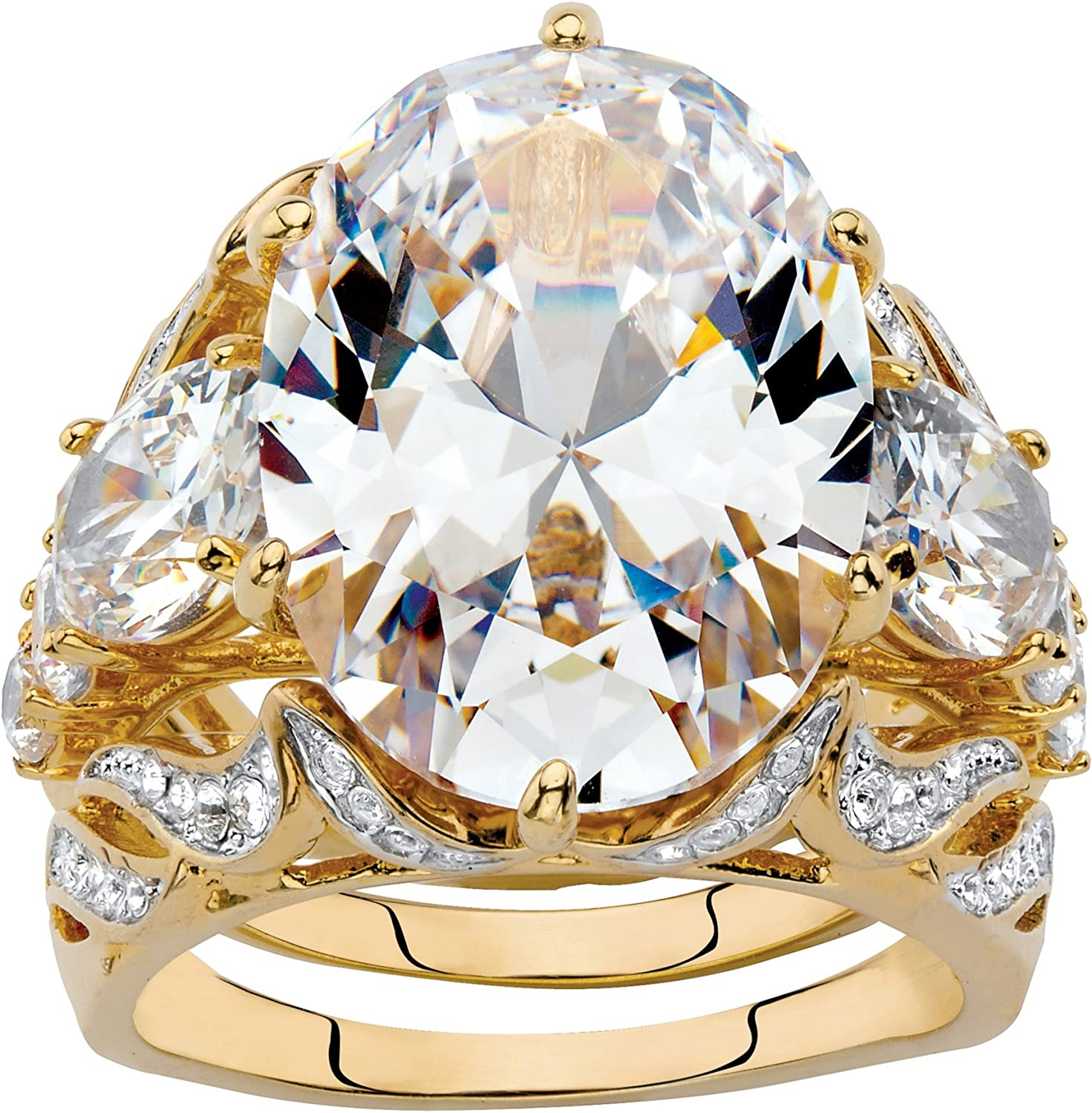 Palm Beach Jewelry Yellow Gold-Plated or Platinum-Plated Oval Cut Cubic Zirconia Bridal Ring Set