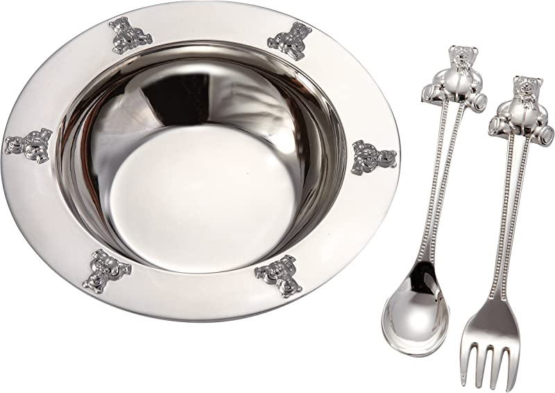 1 X Silverplated Baby Bear Bowl Spoon Fork Set By Elegance Silver