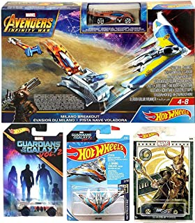 Hot Wheels Rocket Race Marvel Heroes Assemble Exclusive Team Pack Bundle Infinity War Milano Breakout Launcher with Raccoon Car Guardians Playset Loki Scoopa Di Fuego 2019 4 Items