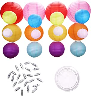 20 Colored Paper Lanterns - Extra-Thick Material - 24 Bright Battery Operated Hanging LED Lights - Large and Small Colorful Decorative Lantern Kit for Kids Birthday Party - Wedding - Patio Decoration
