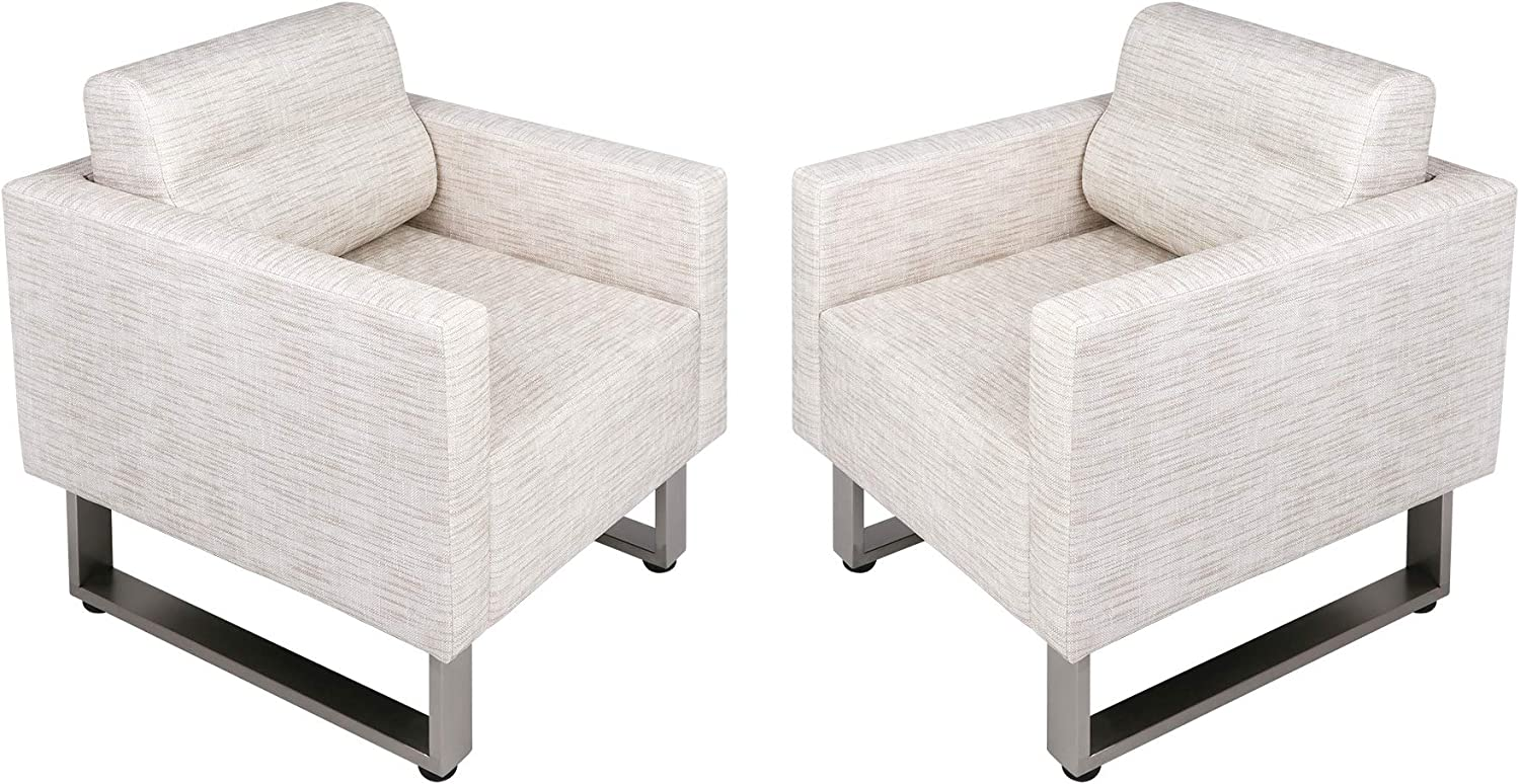 LUCKYERMORE Set of 2 Large Guest Club Chairs for Studio Office Reception Couch, Lounge Accent Chairs Soft Leather Side Arm Chair Sofa for Bedroom Living Room, White