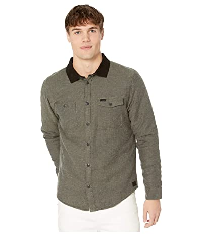RVCA Victory II Long Sleeve Button Up Shirt (Olive Heather) Men