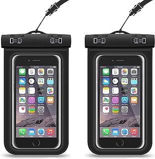 [2-Pack] PUBAMALL Funda universal impermeable para iPhone X/8/8 Plus/7/7 Plus/6s/6s Plus/5s, Samsung Galaxy S9 Plus / S9/S...