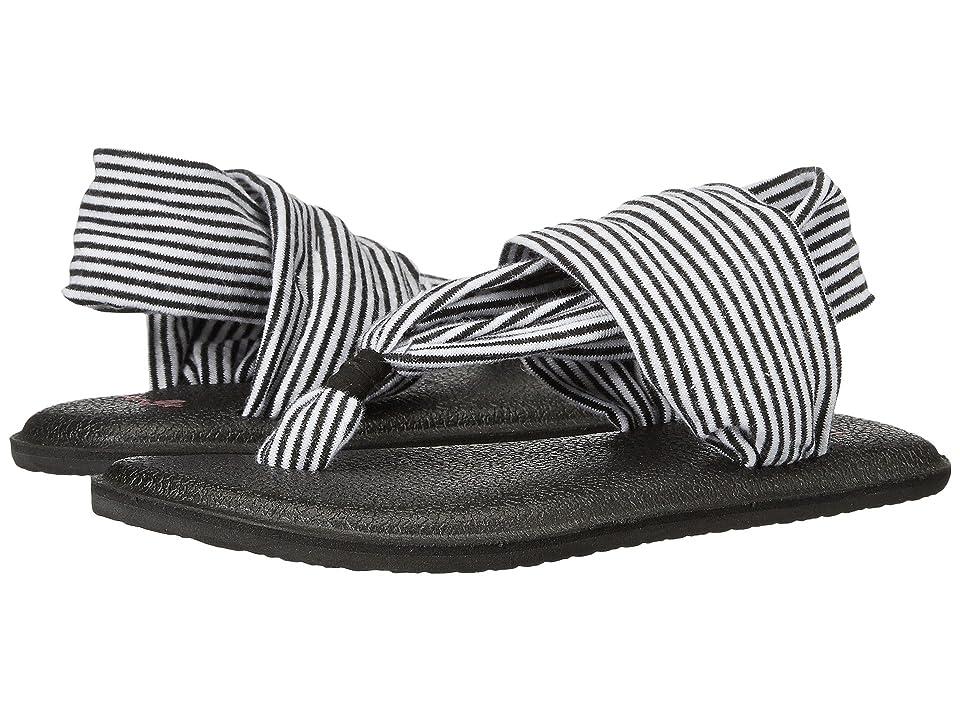 Sanuk Kids Yoga Sling Girls (Toddler/Little Kid) (Black/White Stripes) Girls Shoes
