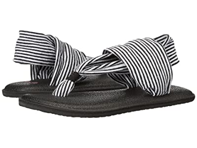Sanuk Kids Yoga Sling Girls (Toddler/Little Kid) (Black/White Stripes) Girls Shoes