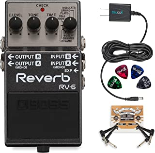 BOSS RV-6 Digital Reverb Pedal Bundle with 2 Pack of Blucoil Pedal Patch Cables, Slim 9V 670ma Power Supply AC Adapter and 4-Pack of Celluloid Guitar Picks