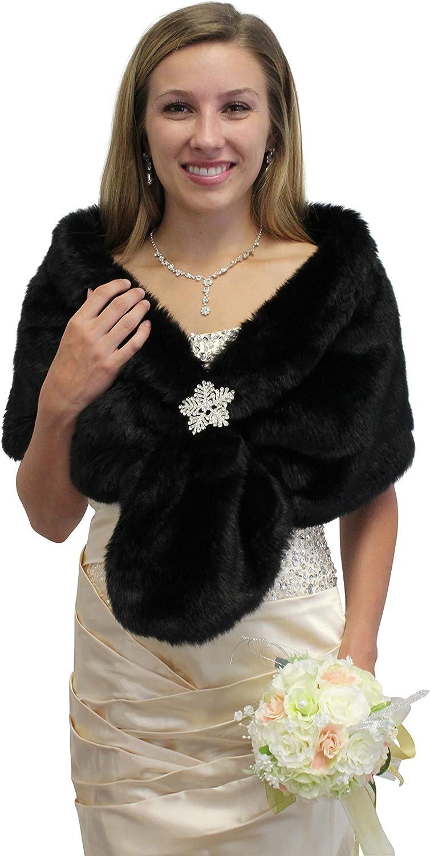 Tion Bridal Women's Faux Fur Wrap Bridal One Size, Black
